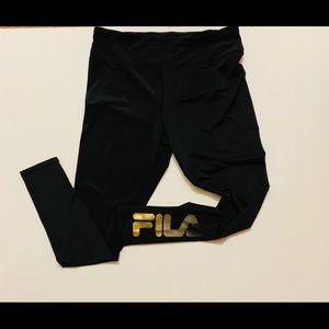 Fila Yoga Workout Pants Gold Logo